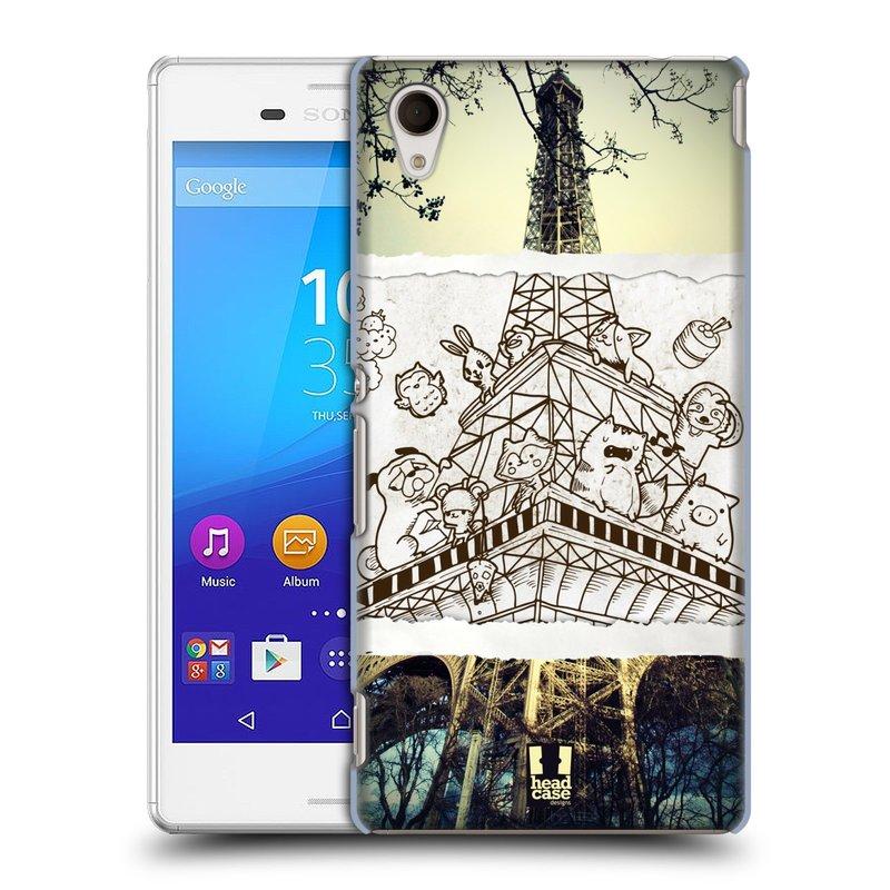 Plastové pouzdro na mobil Sony Xperia M4 Aqua E2303 HEAD CASE DOODLE TRIP PAŘÍŽ (Kryt či obal na mobilní telefon Sony Xperia M4 Aqua a M4 Aqua Dual SIM)