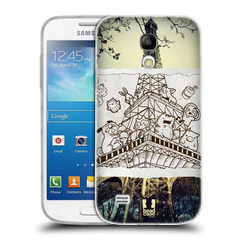 Silikonové pouzdro na mobil Samsung Galaxy S4 Mini VE HEAD CASE DOODLE TRIP PAŘÍŽ (Silikonový kryt či obal na mobilní telefon Samsung Galaxy S4 Mini VE GT-i9195i (nepasuje na verzi Black Edition))