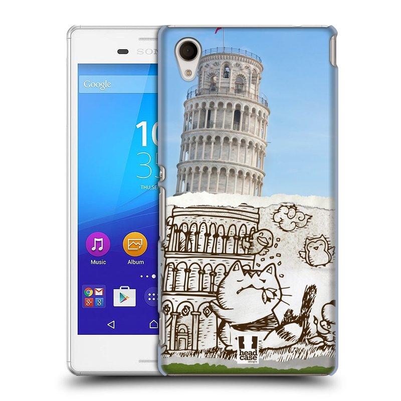 Plastové pouzdro na mobil Sony Xperia M4 Aqua E2303 HEAD CASE DOODLE TRIP PISA (Kryt či obal na mobilní telefon Sony Xperia M4 Aqua a M4 Aqua Dual SIM)