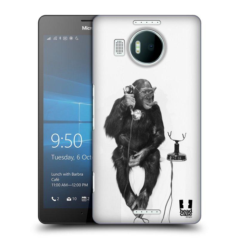 Plastové pouzdro na mobil Microsoft Lumia 950 XL HEAD CASE OPIČÁK S TELEFONEM (Kryt či obal na mobilní telefon Microsoft Lumia 950 XL)