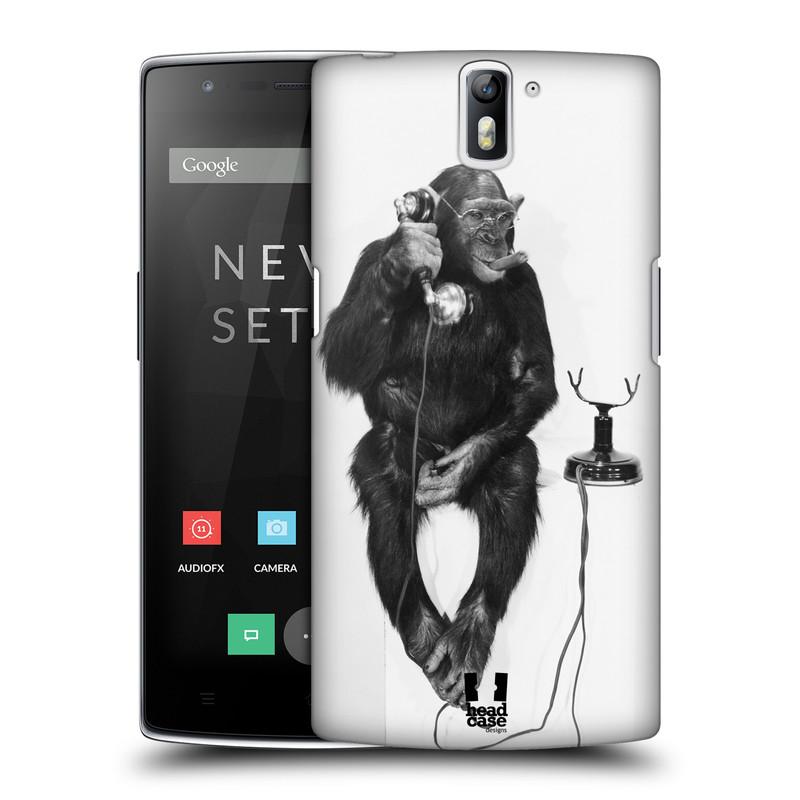 Plastové pouzdro na mobil OnePlus One HEAD CASE OPIČÁK S TELEFONEM (Kryt či obal na mobilní telefon OnePlus One)