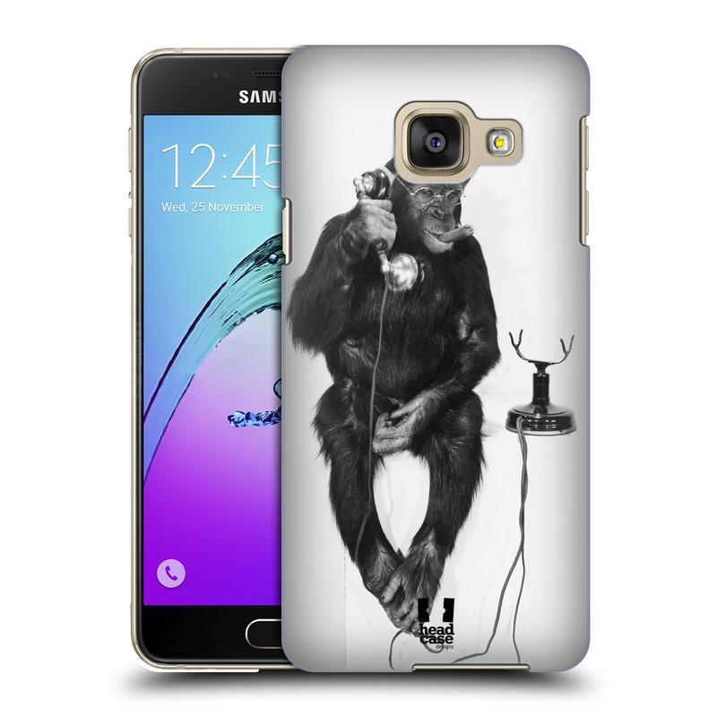 Plastové pouzdro na mobil Samsung Galaxy A3 (2016) HEAD CASE OPIČÁK S TELEFONEM (Kryt či obal na mobilní telefon Samsung Galaxy A3 (2016) SM-A310F)