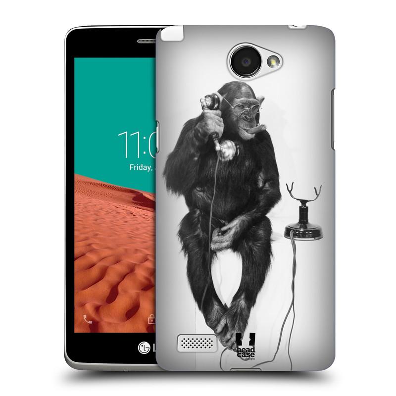 Plastové pouzdro na mobil LG Bello II HEAD CASE OPIČÁK S TELEFONEM (Kryt či obal na mobilní telefon LG Bello 2 X150)