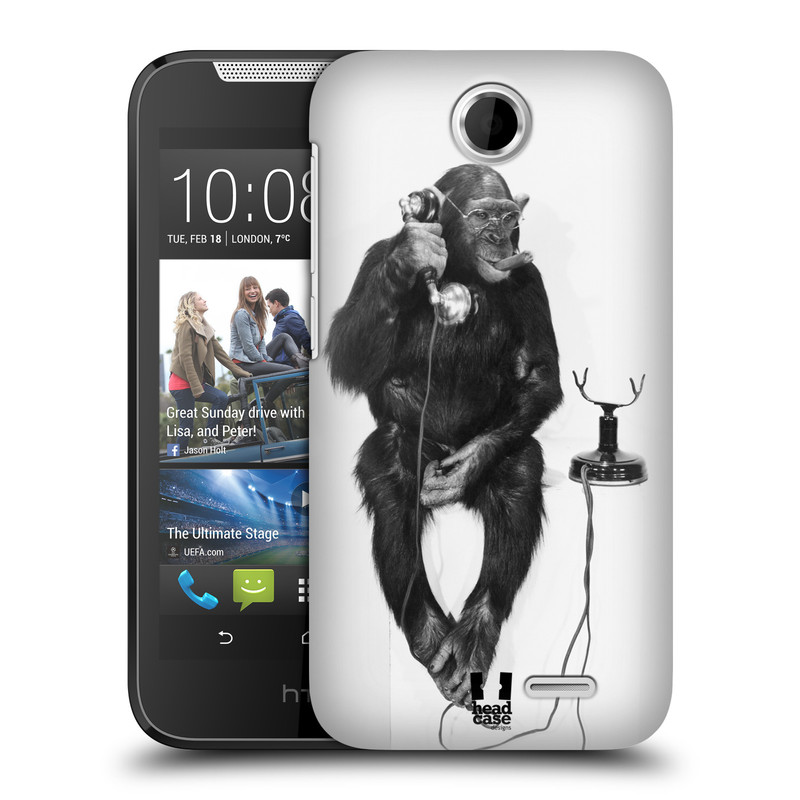 Plastové pouzdro na mobil HTC Desire 310 HEAD CASE OPIČÁK S TELEFONEM (Kryt či obal na mobilní telefon HTC Desire 310)
