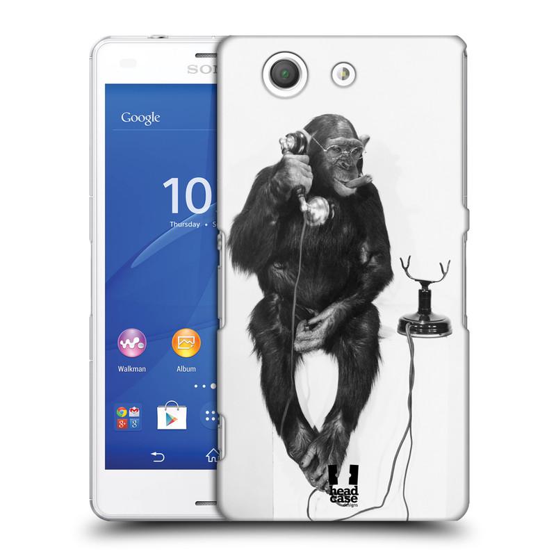 Plastové pouzdro na mobil Sony Xperia Z3 Compact D5803 HEAD CASE OPIČÁK S TELEFONEM (Kryt či obal na mobilní telefon Sony Xperia Z3 Compact )
