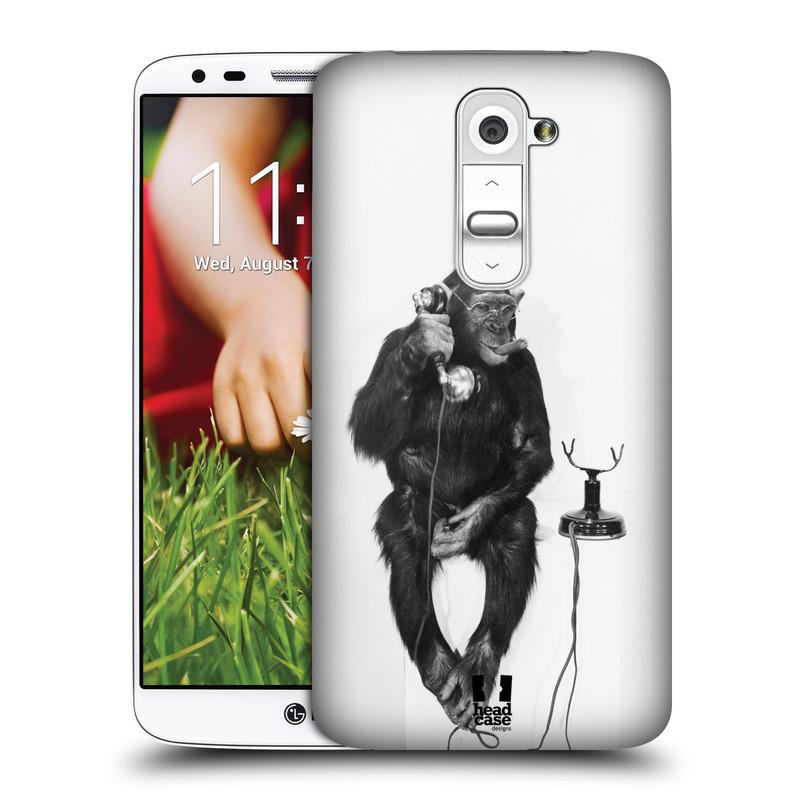 Plastové pouzdro na mobil LG G2 HEAD CASE OPIČÁK S TELEFONEM (Kryt či obal na mobilní telefon LG G2 D802)