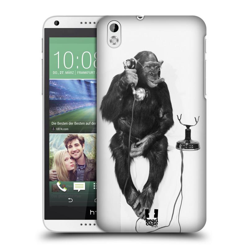 Plastové pouzdro na mobil HTC Desire 816 HEAD CASE OPIČÁK S TELEFONEM (Kryt či obal na mobilní telefon HTC Desire 816)