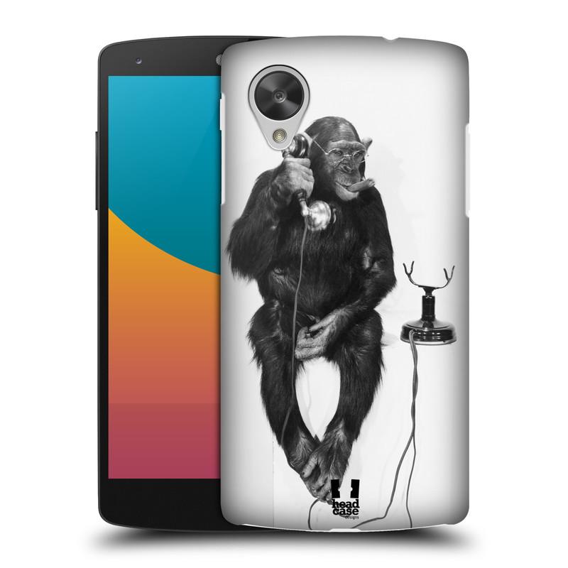 Plastové pouzdro na mobil LG Nexus 5 HEAD CASE OPIČÁK S TELEFONEM (Kryt či obal na mobilní telefon LG Google Nexus 5 D821)