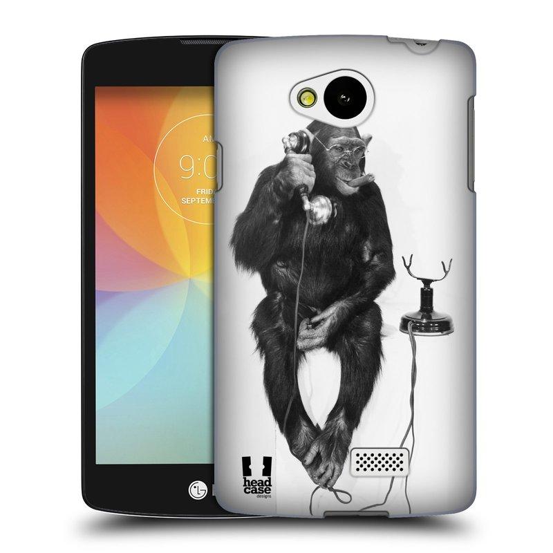 Plastové pouzdro na mobil LG F60 HEAD CASE OPIČÁK S TELEFONEM (Kryt či obal na mobilní telefon LG F60 D390n)