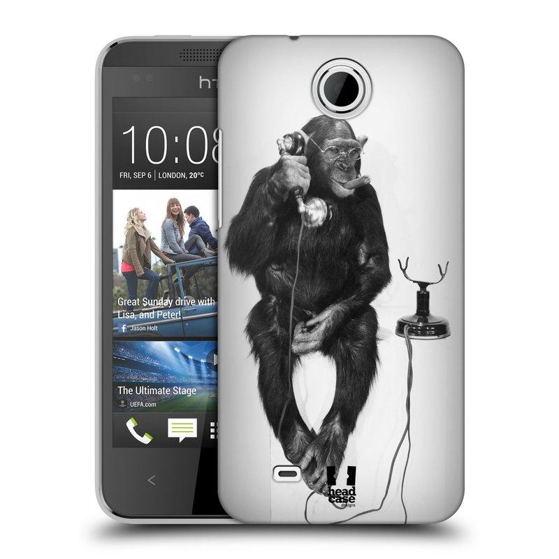 Plastové pouzdro na mobil HTC Desire 300 HEAD CASE OPIČÁK S TELEFONEM (Kryt či obal na mobilní telefon HTC Desire 300)