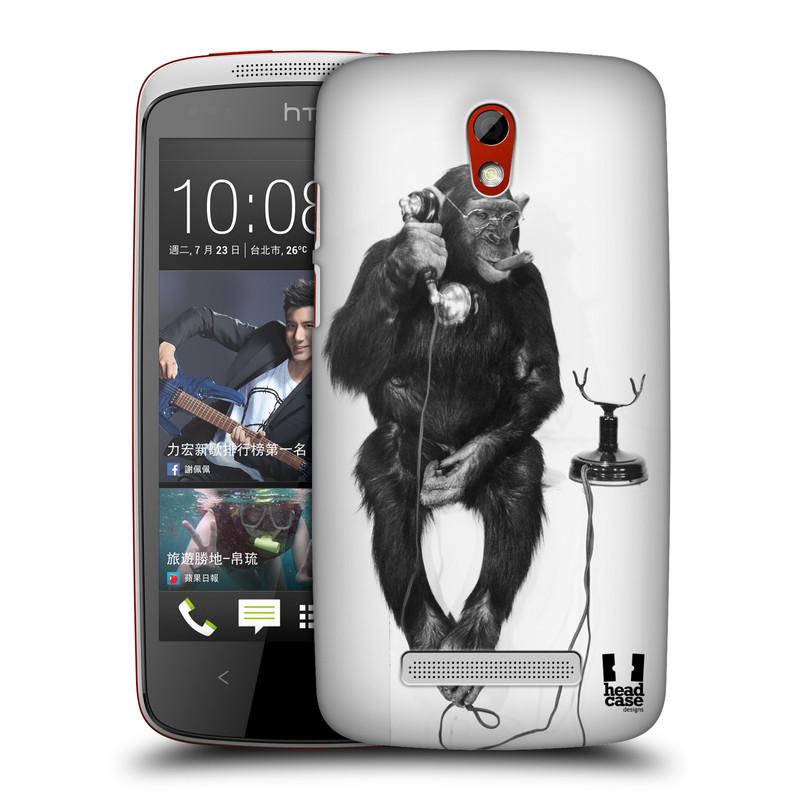 Plastové pouzdro na mobil HTC Desire 500 HEAD CASE OPIČÁK S TELEFONEM (Kryt či obal na mobilní telefon HTC Desire 500)