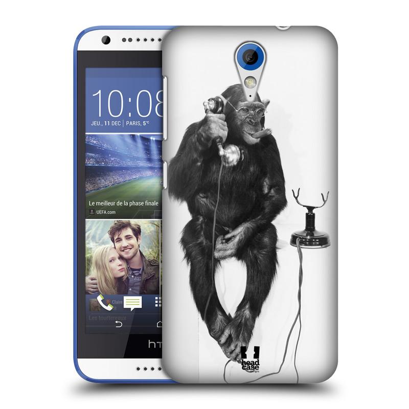 Plastové pouzdro na mobil HTC Desire 620 HEAD CASE OPIČÁK S TELEFONEM (Kryt či obal na mobilní telefon HTC Desire 620)