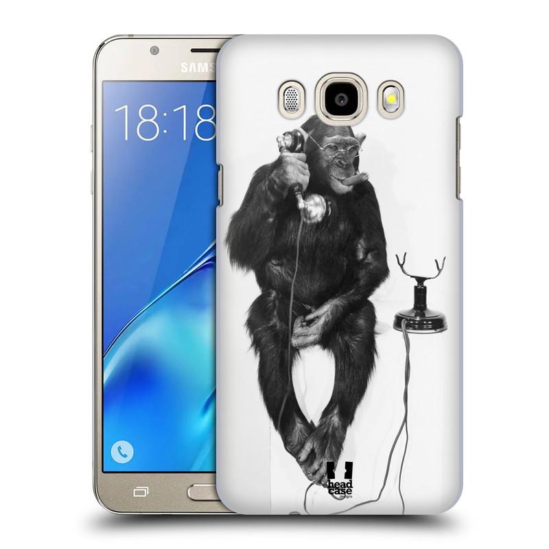 Plastové pouzdro na mobil Samsung Galaxy J5 (2016) HEAD CASE OPIČÁK S TELEFONEM (Plastový kryt či obal na mobilní telefon Samsung Galaxy J5 (2016) SM-J510)