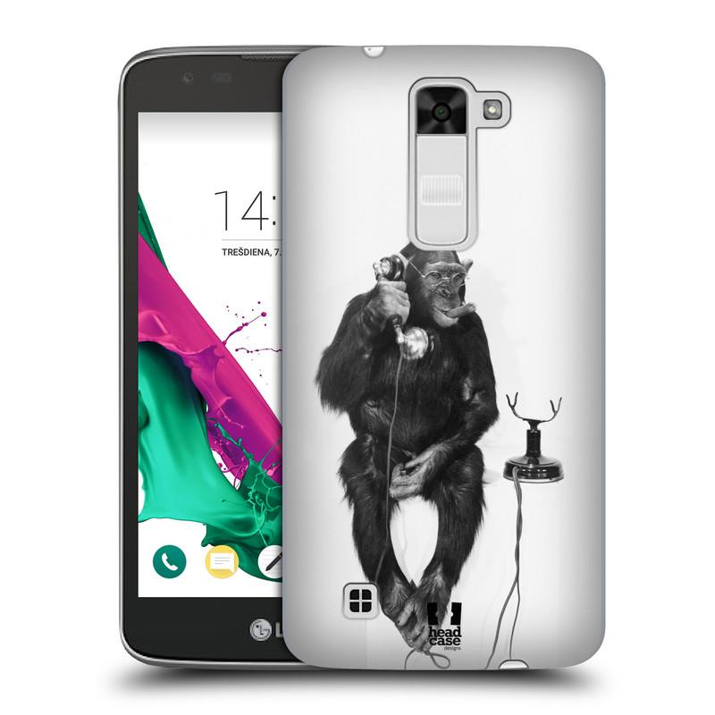 Plastové pouzdro na mobil LG K7 HEAD CASE OPIČÁK S TELEFONEM (Kryt či obal na mobilní telefon LG K7)