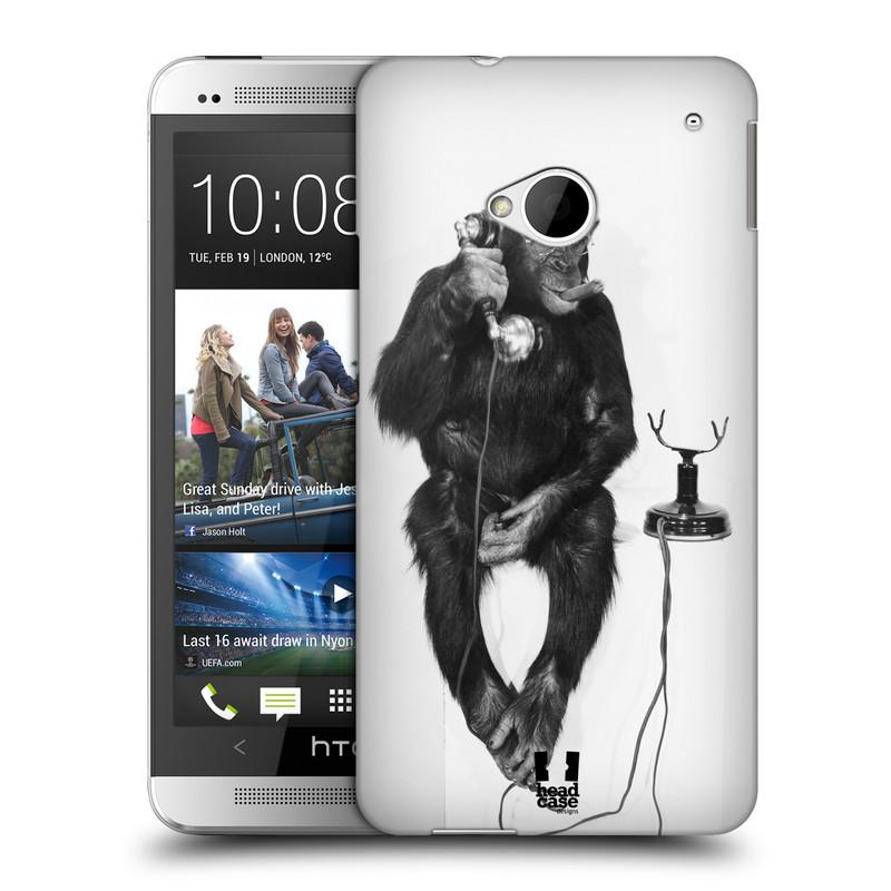 Plastové pouzdro na mobil HTC ONE M7 HEAD CASE OPIČÁK S TELEFONEM (Kryt či obal na mobilní telefon HTC ONE M7)