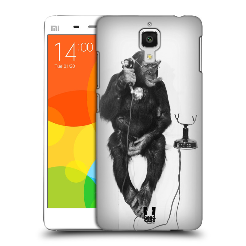 Plastové pouzdro na mobil Xiaomi Mi4 HEAD CASE OPIČÁK S TELEFONEM (Kryt či obal na mobilní telefon Xiaomi Mi4)