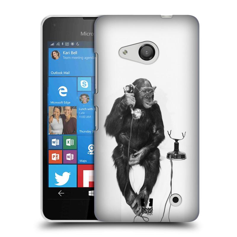 Plastové pouzdro na mobil Microsoft Lumia 550 HEAD CASE OPIČÁK S TELEFONEM (Kryt či obal na mobilní telefon Microsoft Lumia 550)