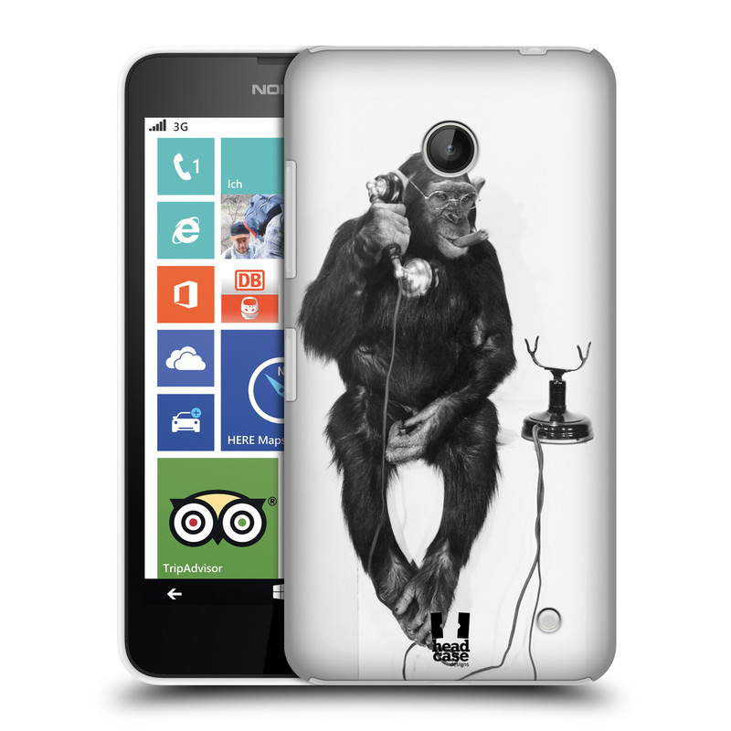 Plastové pouzdro na mobil Nokia Lumia 630 HEAD CASE OPIČÁK S TELEFONEM (Kryt či obal na mobilní telefon Nokia Lumia 630 a Nokia Lumia 630 Dual SIM)