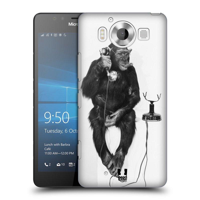 Plastové pouzdro na mobil Microsoft Lumia 950 HEAD CASE OPIČÁK S TELEFONEM (Kryt či obal na mobilní telefon Microsoft Lumia 950)
