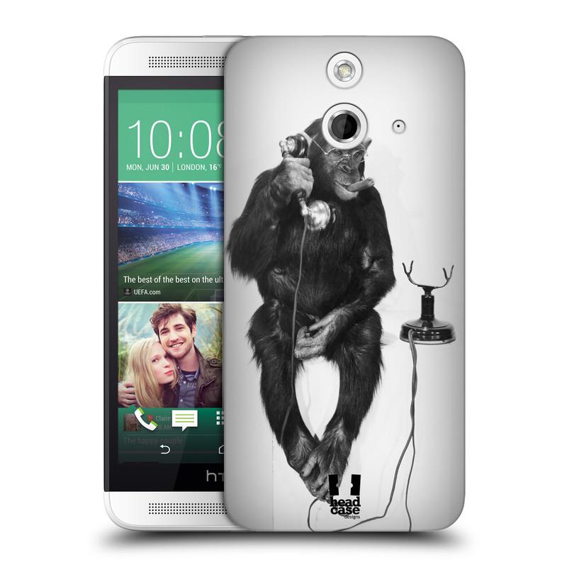 Plastové pouzdro na mobil HTC ONE E8 HEAD CASE OPIČÁK S TELEFONEM (Kryt či obal na mobilní telefon HTC ONE E8)