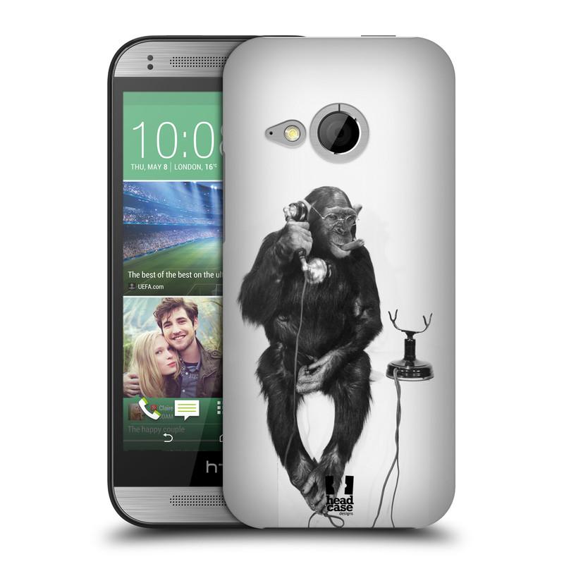 Plastové pouzdro na mobil HTC ONE Mini 2 HEAD CASE OPIČÁK S TELEFONEM (Kryt či obal na mobilní telefon HTC ONE Mini 2)