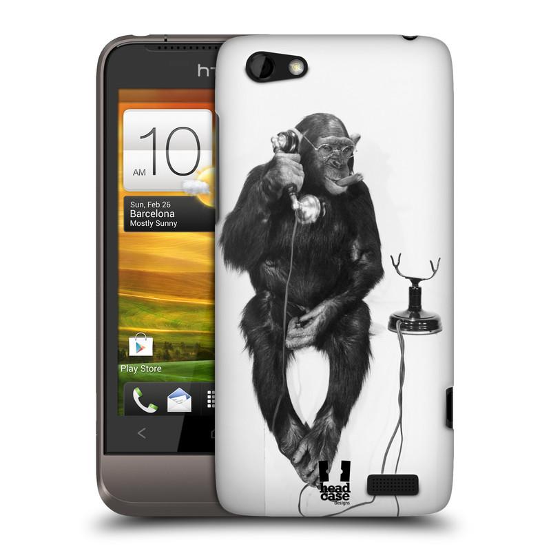 Plastové pouzdro na mobil HTC ONE V HEAD CASE OPIČÁK S TELEFONEM (Kryt či obal na mobilní telefon HTC ONE V)