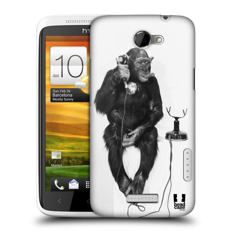 Plastové pouzdro na mobil HTC ONE X HEAD CASE OPIČÁK S TELEFONEM (Kryt či obal na mobilní telefon HTC ONE X)