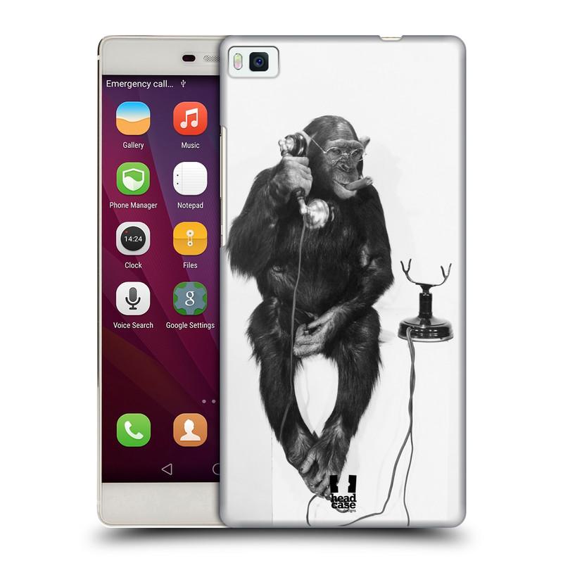 Plastové pouzdro na mobil Huawei P8 HEAD CASE OPIČÁK S TELEFONEM (Kryt či obal na mobilní telefon Huawei Ascend P8)