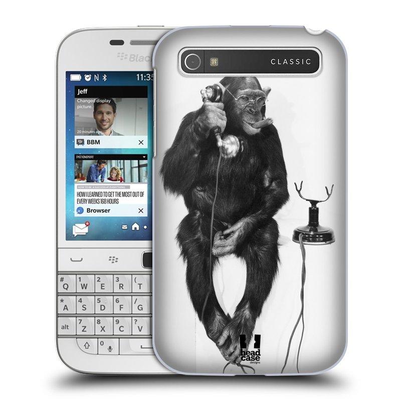 Plastové pouzdro na mobil Blackberry Classic HEAD CASE OPIČÁK S TELEFONEM (Kryt či obal na mobilní telefon Blackberry Classic)