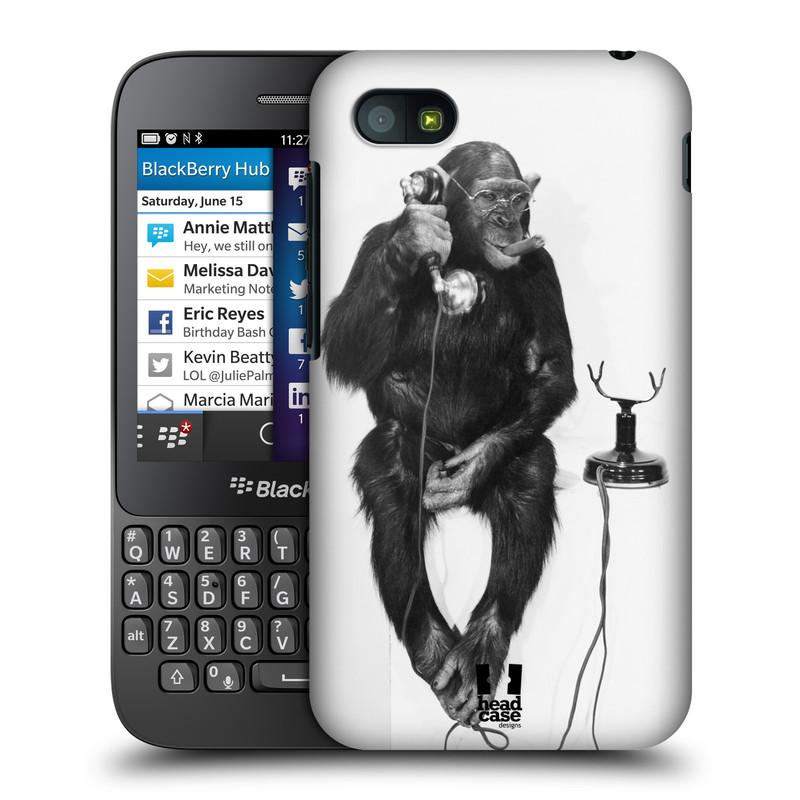 Plastové pouzdro na mobil Blackberry Q5 HEAD CASE OPIČÁK S TELEFONEM (Kryt či obal na mobilní telefon Blackberry Q5)