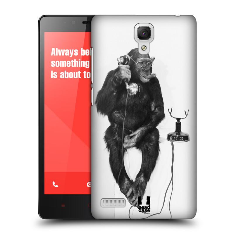 Plastové pouzdro na mobil Xiaomi Redmi Note LTE HEAD CASE OPIČÁK S TELEFONEM (Kryt či obal na mobilní telefon Xiaomi Redmi Note LTE (4G) s 5,5'' displejem)