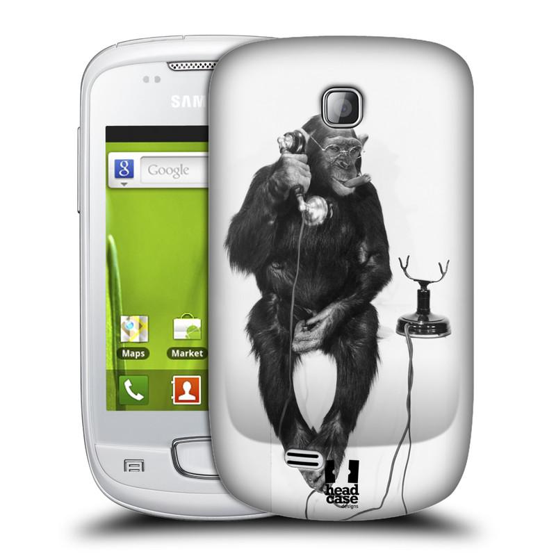 Plastové pouzdro na mobil Samsung Galaxy Mini HEAD CASE OPIČÁK S TELEFONEM (Kryt či obal na mobilní telefon Samsung Galaxy Mini GT-S5570 / GT-S5570i)