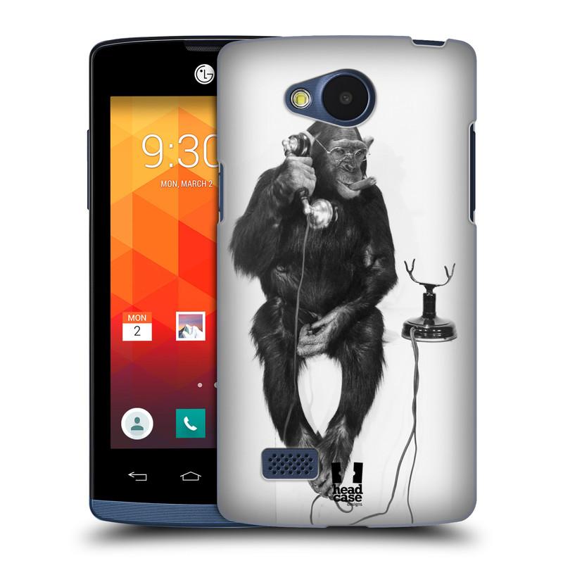 Plastové pouzdro na mobil LG Joy HEAD CASE OPIČÁK S TELEFONEM (Kryt či obal na mobilní telefon LG Joy H220)