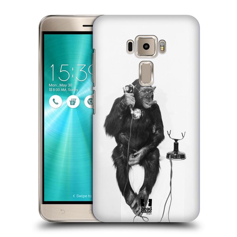Plastové pouzdro na mobil Asus ZenFone 3 ZE520KL HEAD CASE OPIČÁK S TELEFONEM (Plastový kryt či obal na mobilní telefon Asus Zenfone 3 s označením ZE520KL)