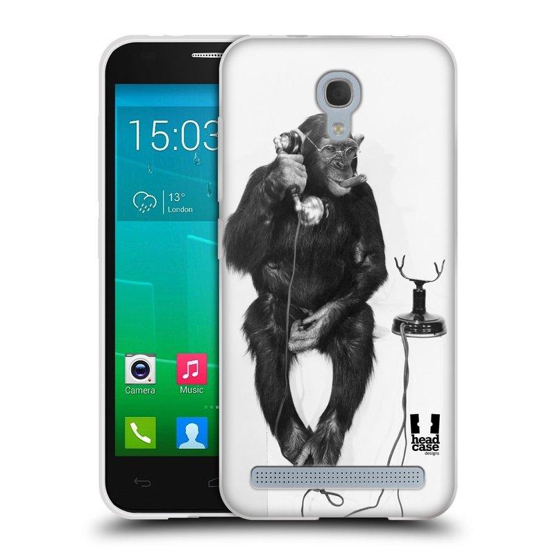Silikonové pouzdro na mobil Alcatel One Touch Idol 2 Mini S 6036Y HEAD CASE OPIČÁK S TELEFONEM (Silikonový kryt či obal na mobilní telefon Alcatel Idol 2 Mini S OT-6036Y)