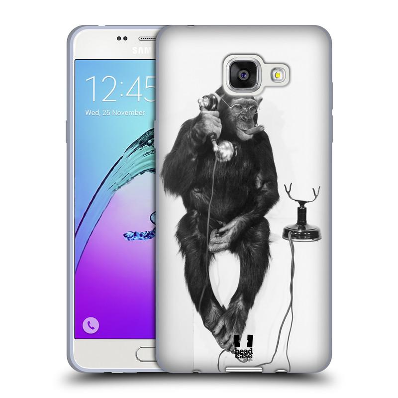 Silikonové pouzdro na mobil Samsung Galaxy A5 (2016) HEAD CASE OPIČÁK S TELEFONEM (Silikonový kryt či obal na mobilní telefon Samsung Galaxy A5 (2016) SM-A510F)