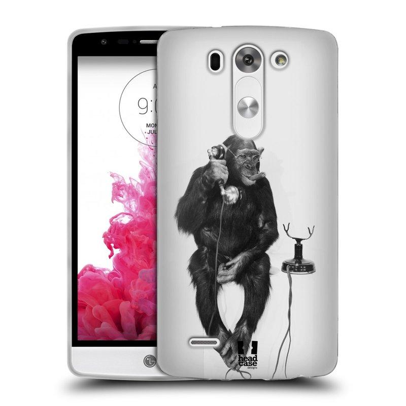 Silikonové pouzdro na mobil LG G3s HEAD CASE OPIČÁK S TELEFONEM (Silikonový kryt či obal na mobilní telefon LG G3s D722)