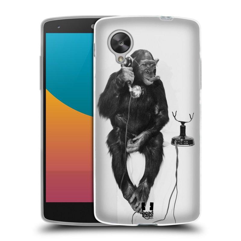 Silikonové pouzdro na mobil LG Nexus 5 HEAD CASE OPIČÁK S TELEFONEM (Silikonový kryt či obal na mobilní telefon LG Google Nexus 5 D821)