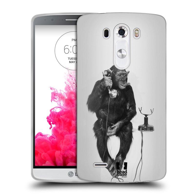 Silikonové pouzdro na mobil LG G3 HEAD CASE OPIČÁK S TELEFONEM (Silikonový kryt či obal na mobilní telefon LG G3 D855)