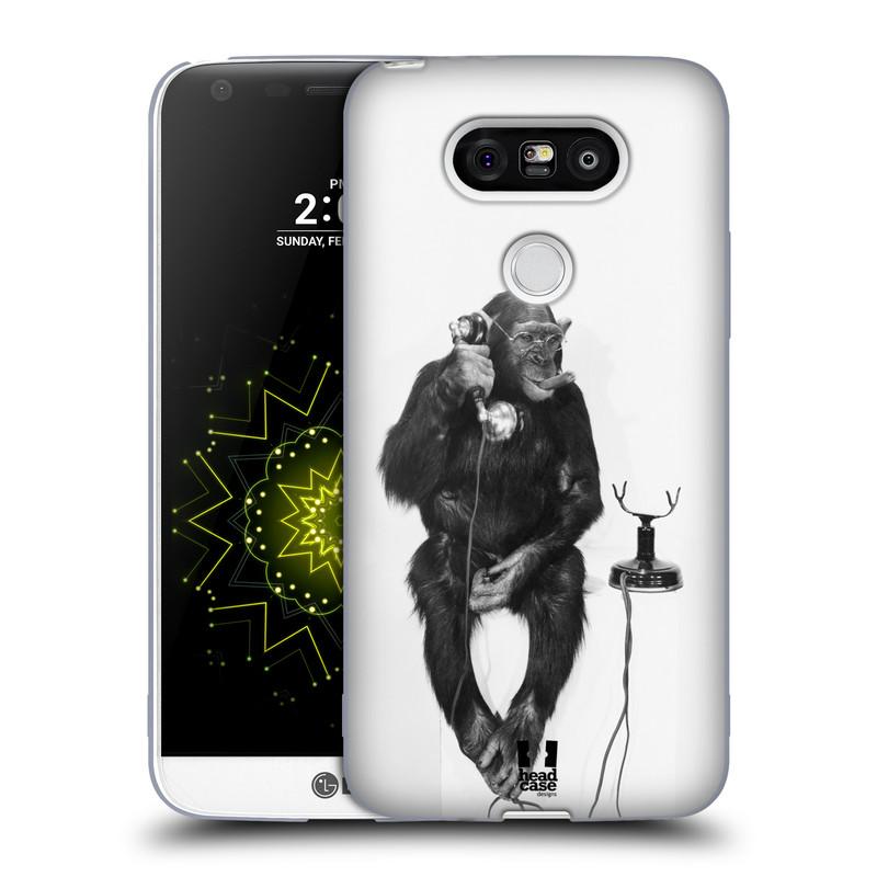 Silikonové pouzdro na mobil LG G5 HEAD CASE OPIČÁK S TELEFONEM (Silikonový kryt či obal na mobilní telefon LG G5 H850)