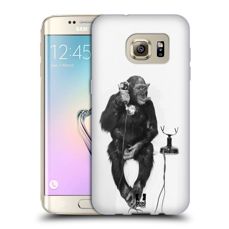 Silikonové pouzdro na mobil Samsung Galaxy S7 Edge HEAD CASE OPIČÁK S TELEFONEM (Silikonový kryt či obal na mobilní telefon Samsung Galaxy S7 Edge SM-G935F)