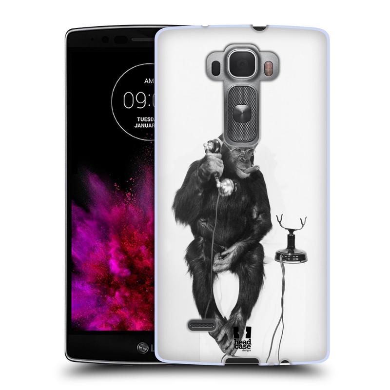 Silikonové pouzdro na mobil LG G Flex 2 HEAD CASE OPIČÁK S TELEFONEM (Silikonový kryt či obal na mobilní telefon LG G Flex 2 H955)