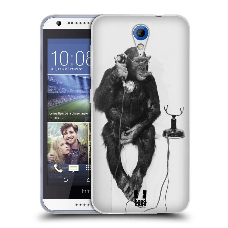 Silikonové pouzdro na mobil HTC Desire 620 HEAD CASE OPIČÁK S TELEFONEM (Silikonový kryt či obal na mobilní telefon HTC Desire 620)