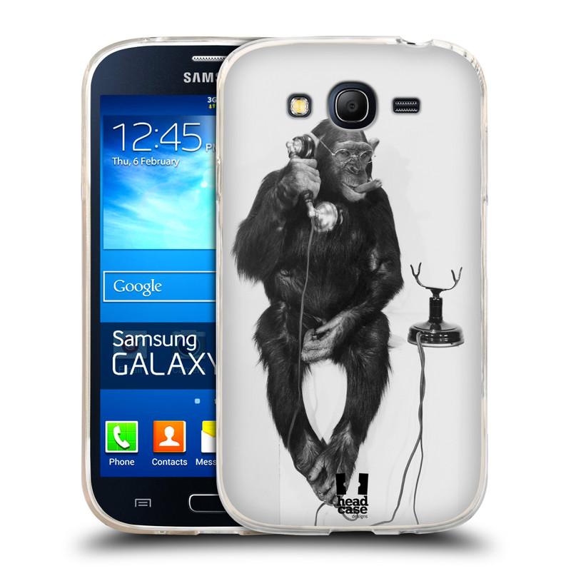 Silikonové pouzdro na mobil Samsung Galaxy Grand Neo HEAD CASE OPIČÁK S TELEFONEM (Silikonový kryt či obal na mobilní telefon Samsung Galaxy Grand Neo GT-I9060)