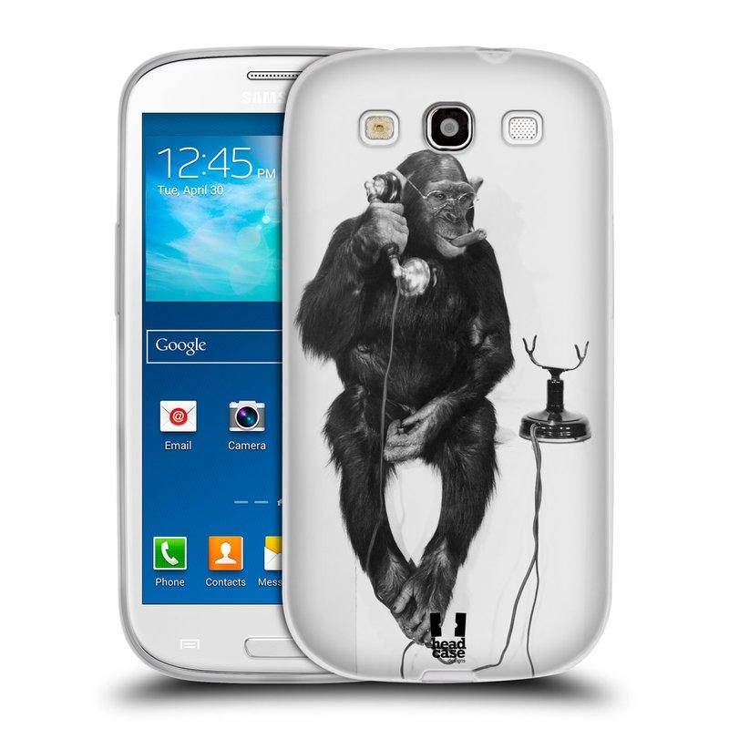 Silikonové pouzdro na mobil Samsung Galaxy S III HEAD CASE OPIČÁK S TELEFONEM (Silikonový kryt či obal na mobilní telefon Samsung Galaxy S III GT-i9300)