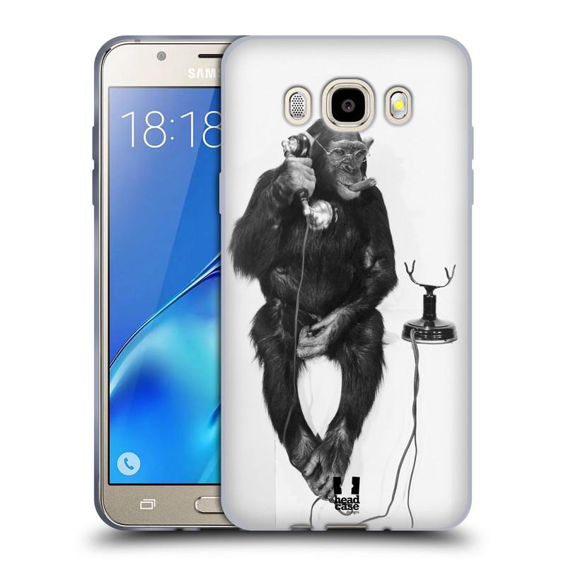 Silikonové pouzdro na mobil Samsung Galaxy J5 (2016) HEAD CASE OPIČÁK S TELEFONEM (Silikonový kryt či obal na mobilní telefon Samsung Galaxy J5 (2016) SM-J510)