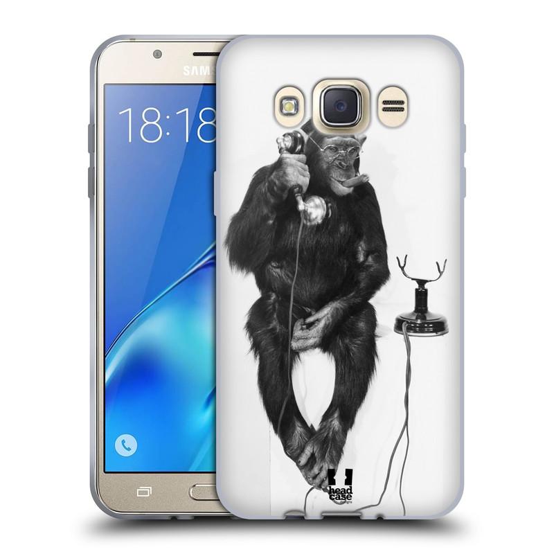 Silikonové pouzdro na mobil Samsung Galaxy J7 (2016) HEAD CASE OPIČÁK S TELEFONEM (Silikonový kryt či obal na mobilní telefon Samsung Galaxy J7 (2016) SM-J710)