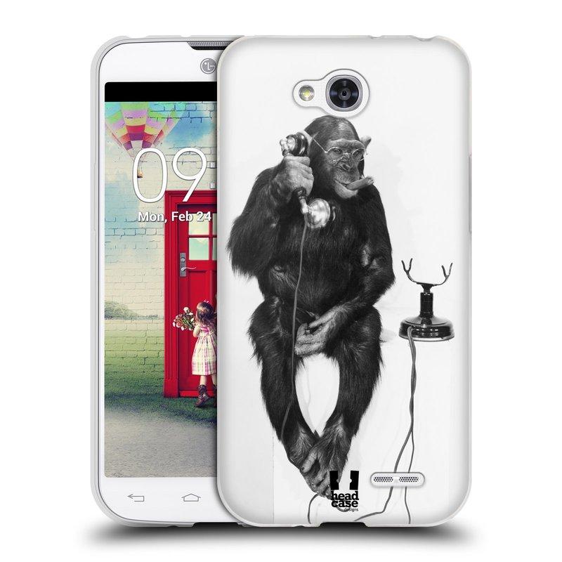 Silikonové pouzdro na mobil LG L90 HEAD CASE OPIČÁK S TELEFONEM (Silikonový kryt či obal na mobilní telefon LG L90 D405n)