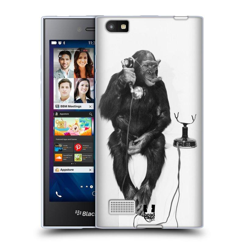 Silikonové pouzdro na mobil Blackberry Leap HEAD CASE OPIČÁK S TELEFONEM (Silikonový kryt či obal na mobilní telefon Blackberry Leap)