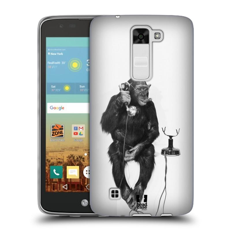 Silikonové pouzdro na mobil LG K7 HEAD CASE OPIČÁK S TELEFONEM (Silikonový kryt či obal na mobilní telefon LG K7)